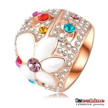 Flor larga pavimentar anéis de ouro para mulheres (ri-hq0081)