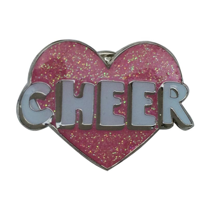 Shiny Nickel Lapel Pin with Glitter and Sandblast