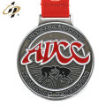 Custom zinc alloy antique silver sports metal medal with lanyard