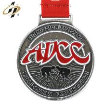 Medalla de metal plateada antigua de aleación de zinc personalizada con cordón