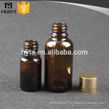 Bouteille d'huile essentielle de 30ml 10ml avec bouchon à vis en or