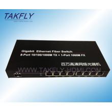 10/100 / 1000m Fx de 1 puerto + conmutador de fibra Tp de 8 puertos