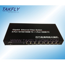 10/100/1000m 1-Port Fx + 8-Port Tp Fiber Switch