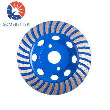 Hunan 4'' 5'' 6'' 7'' 8'' 9'' Double row diamond grinding cup wheel for marble