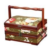 Boîte à couture 2-tier en porte-à-faux avec tissu tapisserie