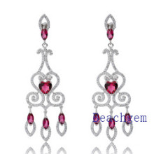 Jewellery-Pink Ruby Sterling Silver Earrings (E8905)