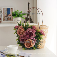 Paper straw material tote bag lady handbags beach bag with flowers