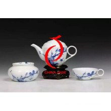Hand Paintd Blue and White Porcelain Chinese Tea Set Tray for Chinese New Year Decoration