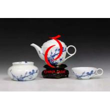 Mão, pintado, azul, branca, porcelana, chinês, chá, jogo, bandeja, chinês, ano novo, decoração