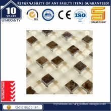 Mosaico de cristal de cristal de piedra blanca y marrón Gss1024