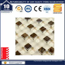 White and Brown Stone Glass Crystal Mosaic Gss1024