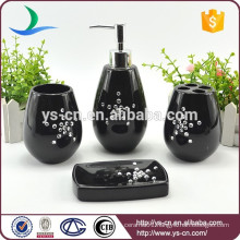 Wholesale 4pcs ceramic hotel bathroom amenity sets with diamond