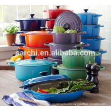 Colorful enamel cast iron casserole