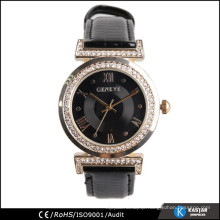 black leather strap lady watch with diamonds