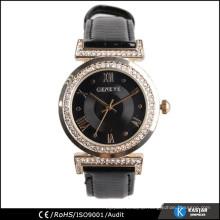 black leather strap lady watch with diamonds