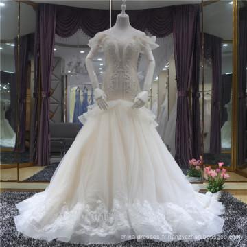 2018 Élégant col en V Lace Up sirène robe de mariée robe de mariée avec des perles lourdes