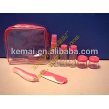 Personal care pink jar hotel empty cosmetic packaging travel bottle set