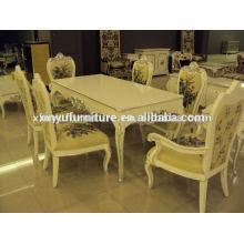 Mesa de comedor clásica de madera y sillas XD1027