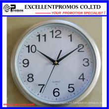 Logotipo de impresión de 10 pulgadas de plástico redondo reloj de pared Logo (EP-Item3-plata)