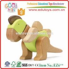 Los juguetes educativos de los niños a estrenar del jardín de la infancia Dinosaurio de madera de la alta calidad 3D
