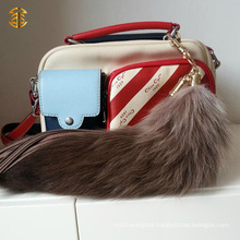 Mixed Color Custom Genuine Fox Fur Tail Gift Keychain