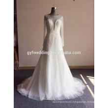 Sexy Girl Dress See Through Crystal Lace Wedding Dress Long Sleeve Open Back Muslim Women Wear Fashion Wedding Dress QQ7-1