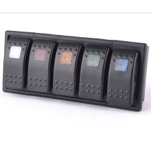 12В - 24В, 5 светодиодов Цвет бар перекидной переключатель панели АРБ Карлинг с держателем клип