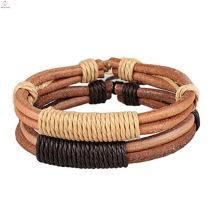 Bracelete de couro minimalista da corda do couro cru, bracelete feito a mão da corda do couro dos pares da pulseira