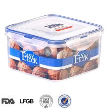 Envase de comida de plástico con tapa de bloqueo