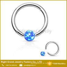 Chirurgischer Stahl Opal gefangener Korn-Nasenring 316L