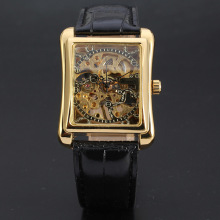 luxury vintage rectangle mechanical movement men watch