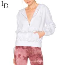 Moda de alta qualidade com capuz manga comprida mulheres jaqueta