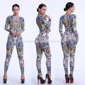 2017 Европа женщины off-плечи цветок цифровой печать спинки длинные брюки Slim-подходят комбинезоны