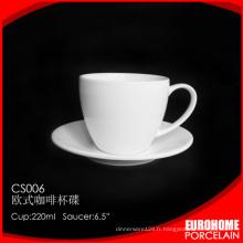 soucoupe et tasse à café eurohome gros vaisselle porcelaine blanche