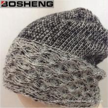 Winter Warm Black Gray Crochet Knit Winter Hat