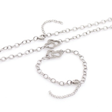 Alta qualidade em aço inoxidável pulseira de prata colar de jóias conjunto