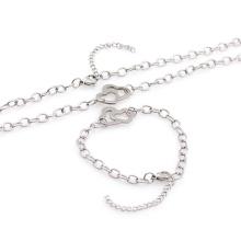 Высокое качество нержавеющей стали серебряный браслет ожерелье комплект ювелирных изделий