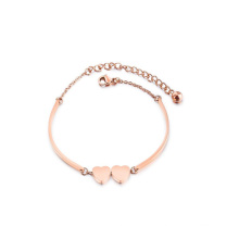 Rose Gold Friendship Stainless Steel Love Double Heart Charm Bracelet