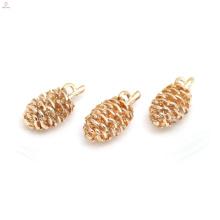 Colgante de collar de cobre chapado en oro accesorio de bricolaje Pinecone Charms Jewelry