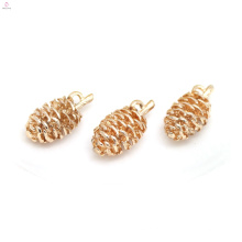 Banhado A ouro Cobre Colar Pingente DIY Acessório Pinecone Encantos Jóias