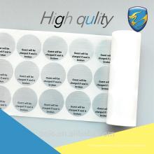 Fabricant expérimenté autocollant de garantie de sécurité de haute qualité pour machine d'emballage alimentaire