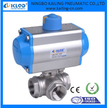 3-fach kleine Mini-Aluminium-Kugelhahn pneumatische Stellantrieb, DN25 KLQD Marke