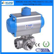 Válvulas de bola de 3 vías con actuador neumático de doble efecto Marca DN50 KLQD