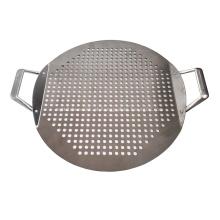 Panela para pizza de aço inoxidável com alça