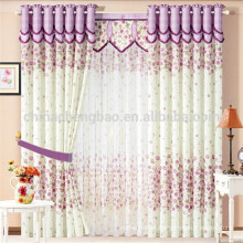 100% polyester materials floral curtains with fancy valance