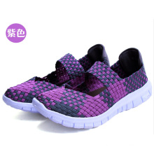 Camouflage Purple Women Hand Woven Shoes