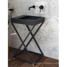 Shanxi lavabo sur colonne en granit noir