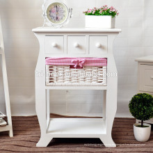 Mesita de noche blanca marrón Unidad de almacenamiento Shabby Chic Cajones Muebles de dormitorio
