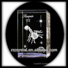 K9 3D Laser Crystal Block con Scorpio Etched