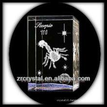 K9 3D Laser Crystal Block with Scorpio Etched